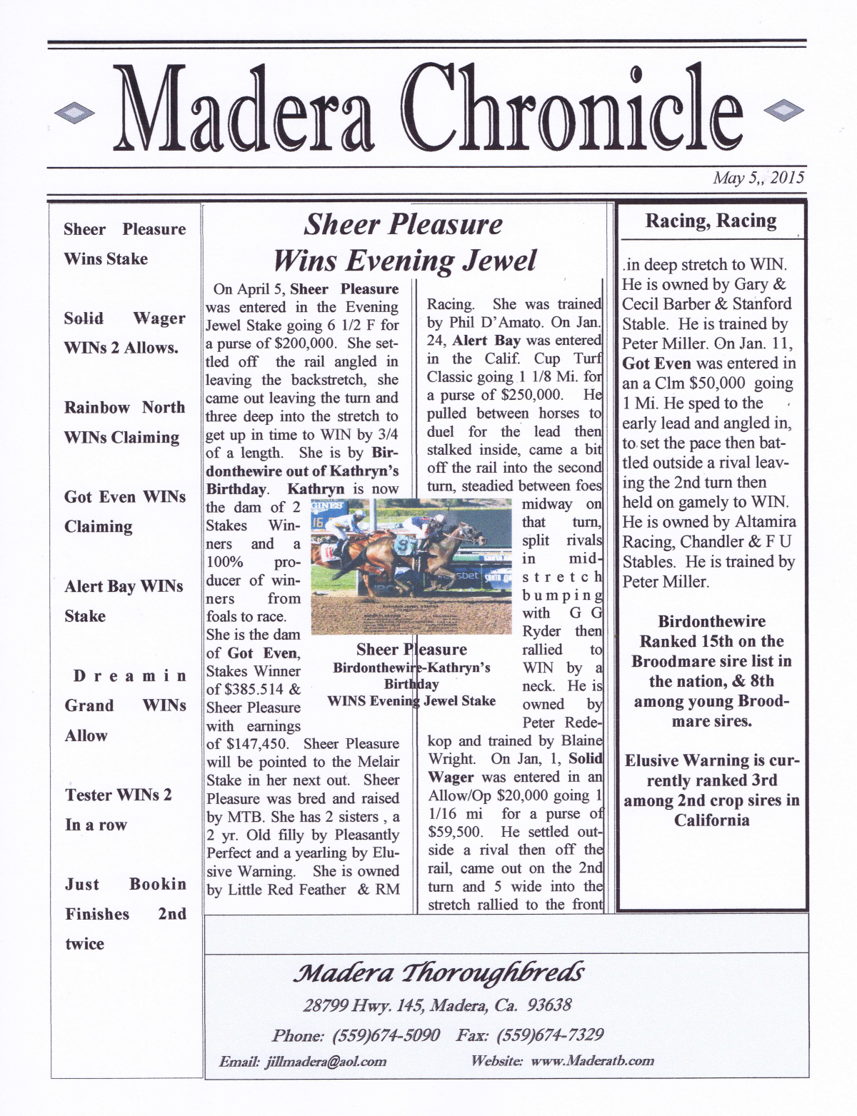 May Newsletters 2015